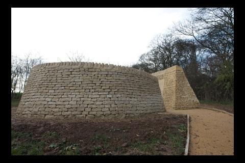 The spiralling stone wall for the Jewish memorial